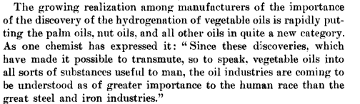 Vegetable oil: more important thansteel?